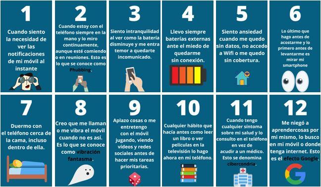 Doce formas que te pueden ayudar a conocer si tienes adicción al móvil.