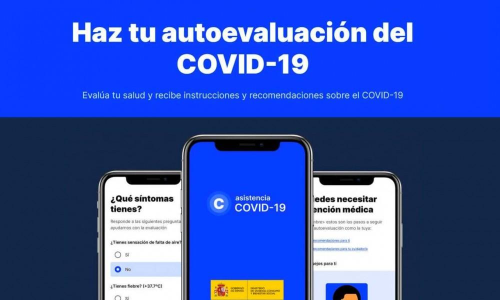 Apariencia de la aplicacion AsistenciaCovid19 para móviles