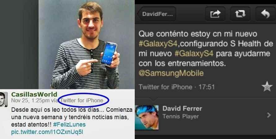 Iker Casillas y David Ferrer metieron la pata al promocionar a Samsung con sus iPhone.