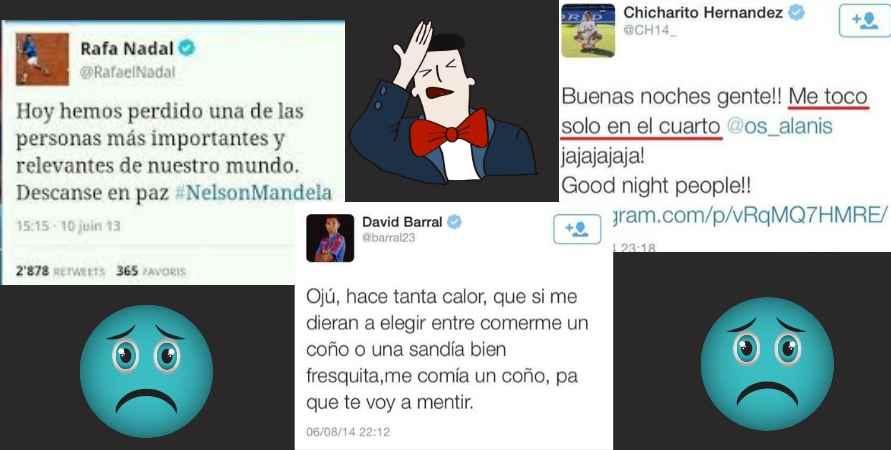 Errores en Twitter de Nadal, Barral y Chicharito Hernández.