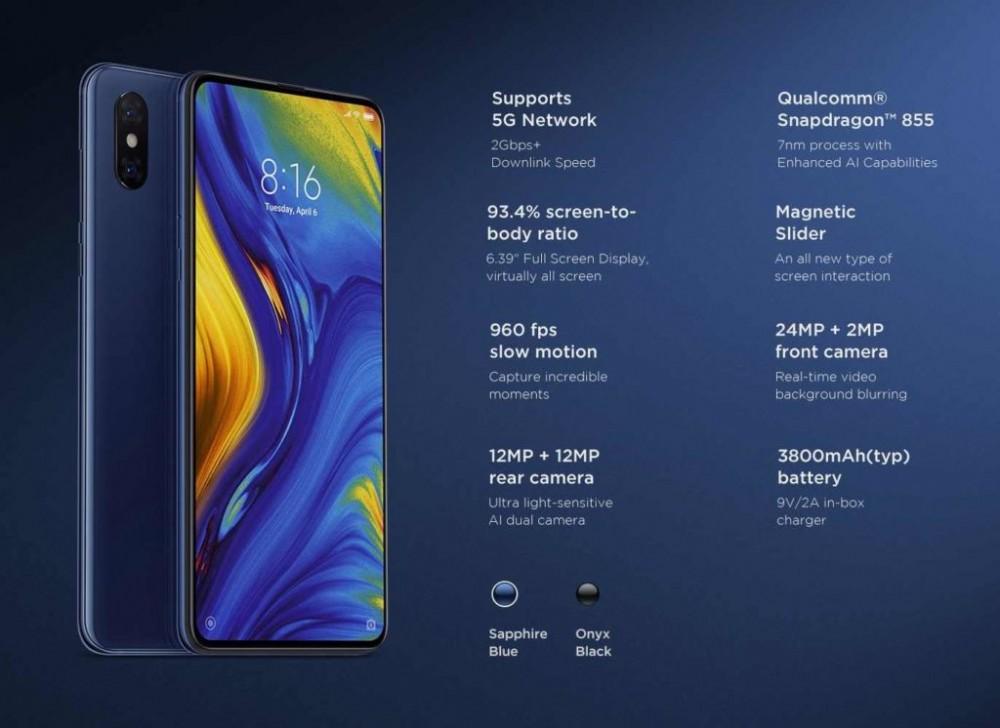 Características Xiaomi Mi Mix 3 con 5G
