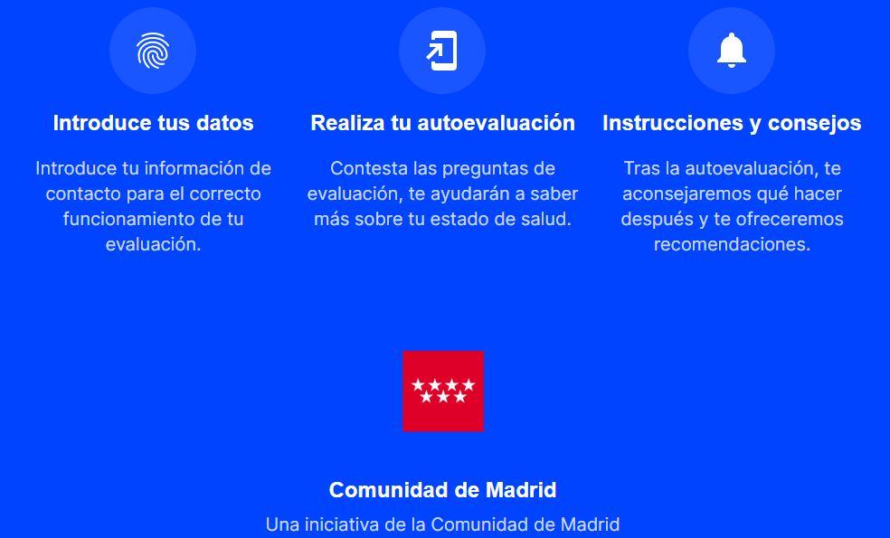 Imagen de la web de coronamadrid que ya está activa.