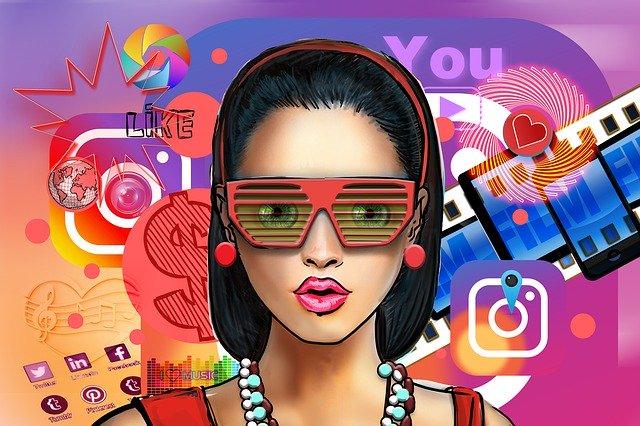 Una caricatura de una influencer de redes sociales