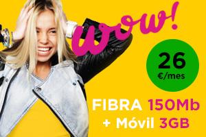 Jazztel wow Fibra 150Mb y Móvil 250 min + 3Gb