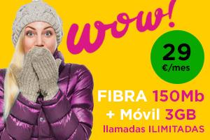 Jazztel wow Fibra 150Mb + Fijo por minutos + móvil 3gb y llamadas ilimitadas