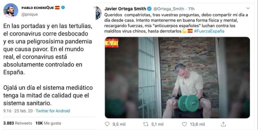 Mensajes de Echenique y Ortega Smith en Twitter.